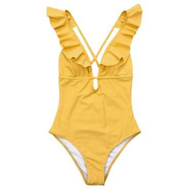 One-piece Swimsuit  Ruffle V-neck Monokini Size Chart